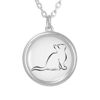 Black cat silhouette, inside text silver plated necklace