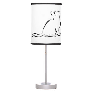 Black cat silhouette, inside text table lamp