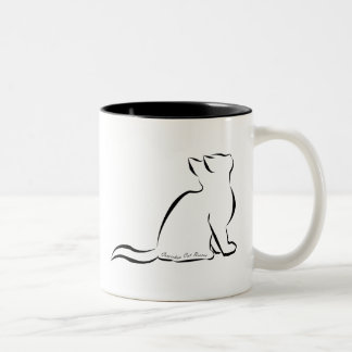 Black cat silhouette, inside text Two-Tone coffee mug
