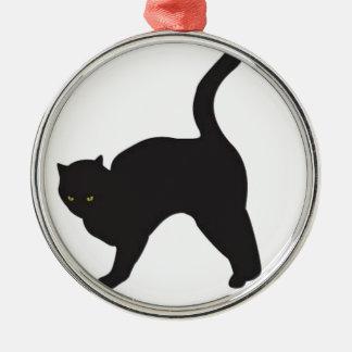 Black cat silhouette metal ornament