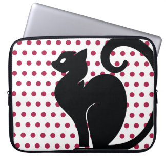 Black Cat Silhouette on Pink Dots Background Laptop Sleeve