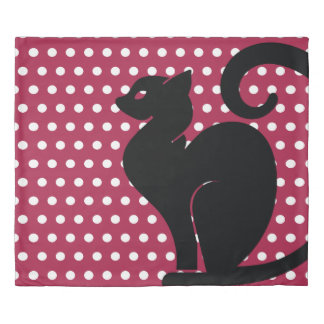 Black Cat Silhouette on Pink White Dots Pattern Duvet Cover