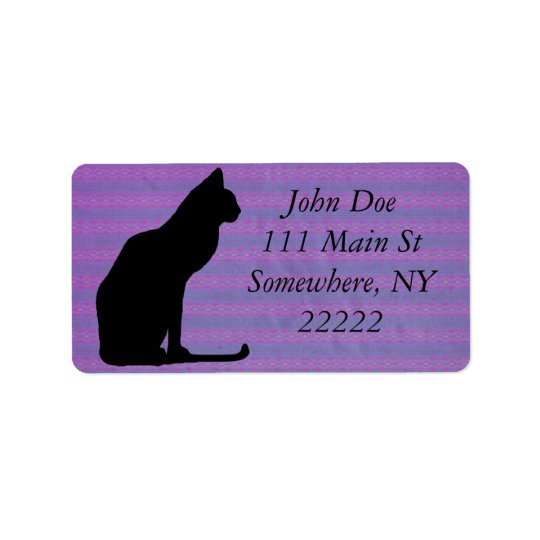 Black Cat Silhouette on Purple Stripes Label