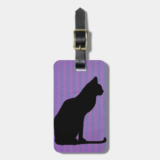 Black Cat Silhouette on Purple Stripes Luggage Tag