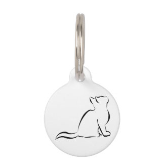 Black cat silhouette pet ID tag
