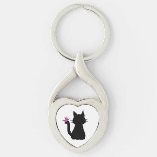 Black Cat Silhouette Pink Butterfly Keychain
