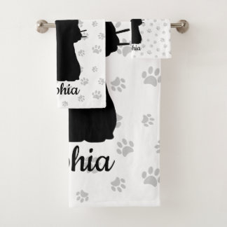 Black Cat Silhouette Pink Butterfly on Tail & Paws Bath Towel Set