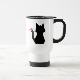 Black Cat Silhouette Pink Butterfly Travel Mug