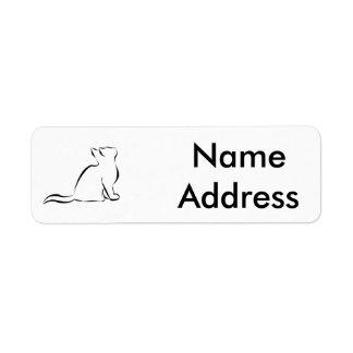 Black cat silhouette return address label