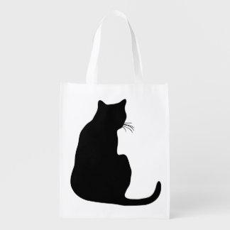 Black Cat Silhouette Reusable Grocery Bag