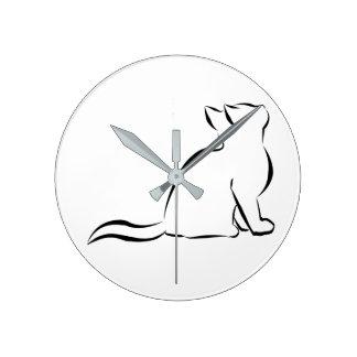 Black cat silhouette round clock