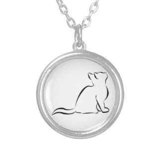 Black cat silhouette silver plated necklace