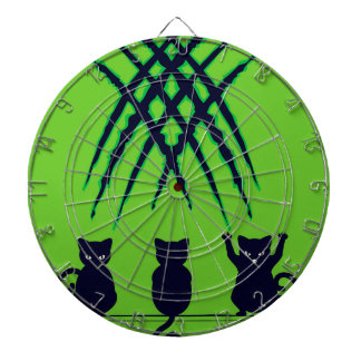 Black Cat Silhouette with Scratches 6 Dart Board
