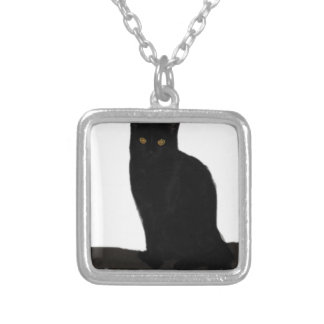 black Cat Silver Plated Necklace
