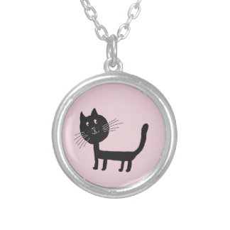 Black Cat  Silver Plated Round Necklace