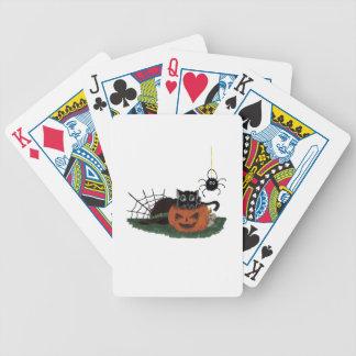 Black Cat sits on a Jack o Lantern with Spider Bicycle Playing Cards