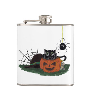 Black Cat sits on a Jack o Lantern with Spider Hip Flask