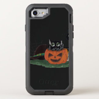 Black Cat sits on a Jack o Lantern with Spider OtterBox Defender iPhone 8/7 Case