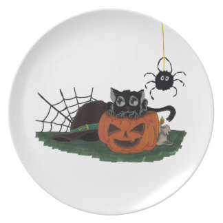 Black Cat sits on a Jack o Lantern with Spider Plate
