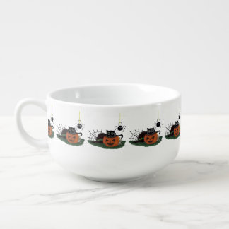 Black Cat sits on a Jack o Lantern with Spider Soup Mug