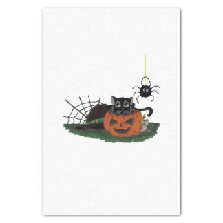 Black Cat sits on a Jack o Lantern with Spider Tissue Paper