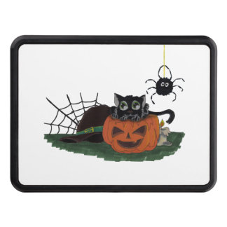 Black Cat sits on a Jack o Lantern with Spider Trailer Hitch Cover