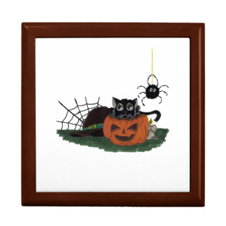 Black Cat sits on a Jack o Lantern with Spider Trinket Boxes
