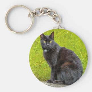 Black cat sitting outdoor basic round button keychain