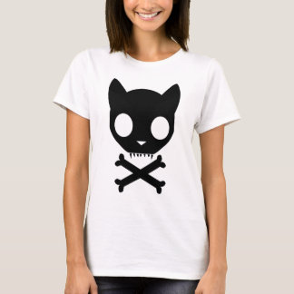 Black Cat Skull and Crossbones T-Shirt