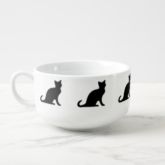 Black cat soup bowl | mug with kitty pattern
