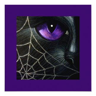 BLACK CAT & SPIDER WEB CUSTOMIZE HALLOWEEN CARD