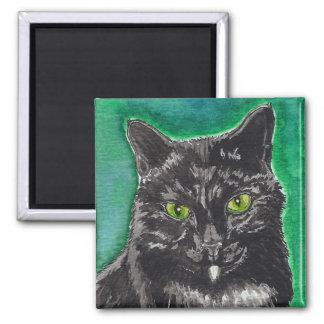 Black Cat Square Magnet