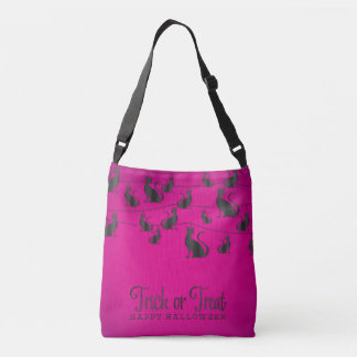 Black cat string crossbody bag