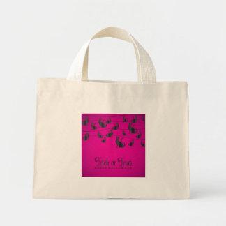 Black cat string mini tote bag