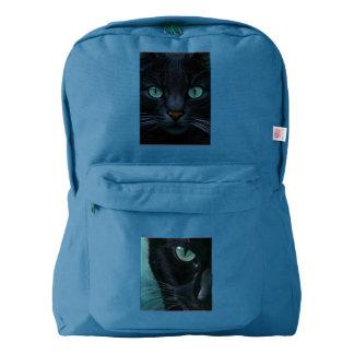 Black cat teal eyes on American Apparel backpack