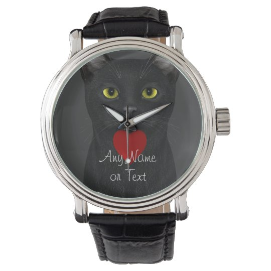 Black Cat - Text Personalizable Wristwatch