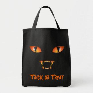 Black Cat Tote Bag Halloween Trick or Treat Bag