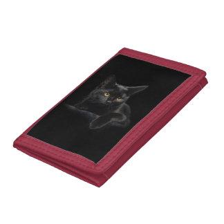 Black Cat TriFold Nylon Wallet