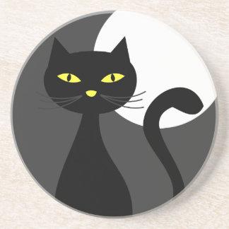 Black Cat Under the Full Moon Halloween Coaster