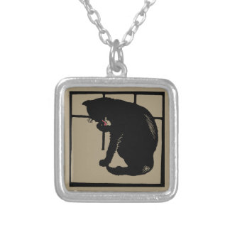 Black cat vector art (woodcut) square silver plated necklace