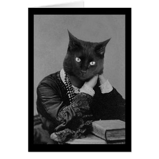 Black cat Victorian photo greeting card