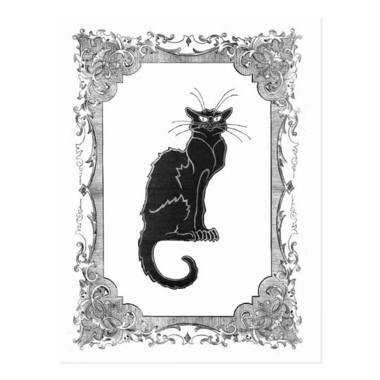 Black Cat Vintage Frame Halloween Postcard