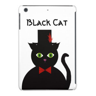 Black Cat w Top Hat Red Bow iPad Case