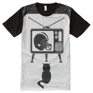 Black cat watching American football