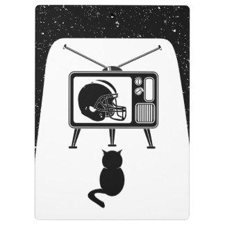 Black cat watching American football Clipboard