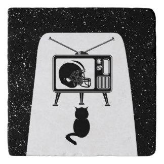 Black cat watching American football Trivet