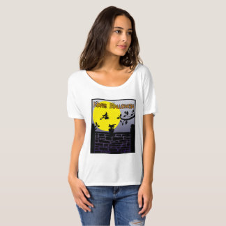 Black cat watching the full moon-Happy Halloween T-Shirt