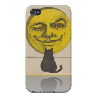 Black Cat Watching Yellow Moon Speck Case iPhone 4 Covers