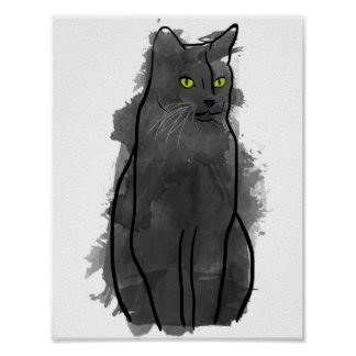 Black Cat Watercolor Art, Watercolor Cat Decor