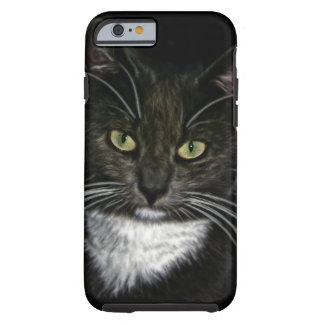 Black Cat White Bib Green Eyes Tough iPhone 6 Case